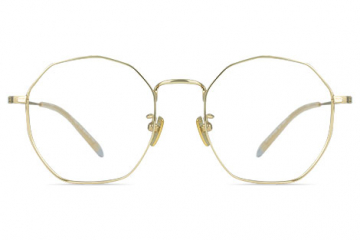 Ozzy Round Gold Titanium Glasses for Men and Women by Framesfoundry - Front View