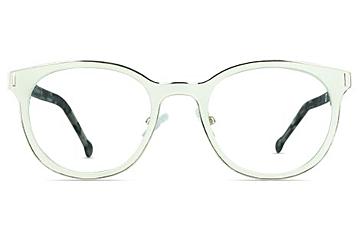 Finn Chalk White Stainless Steel Glasses for Men and Women from Framesfoundry - Front View